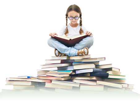 Young girl sitting on top of donated books